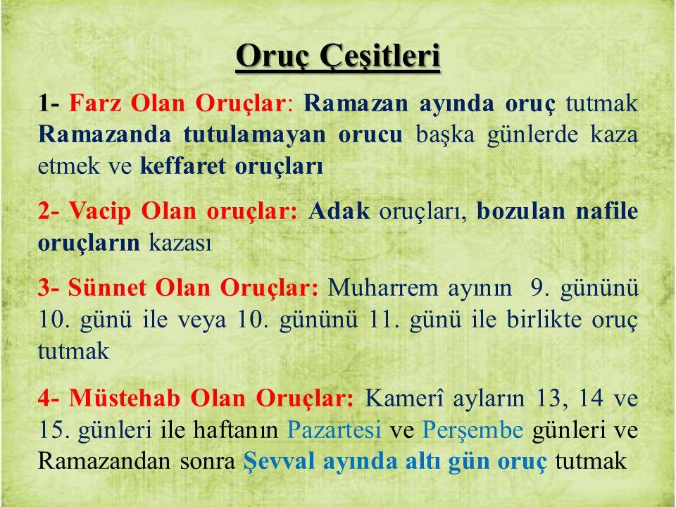 Oruç Çeşitleri 1- Farz Olan Oruçlar: Ramazan ayında oruç tutmak Ramazanda tutulamayan orucu başka günlerde kaza etmek ve keffaret oruçları 2- Vacip Ol