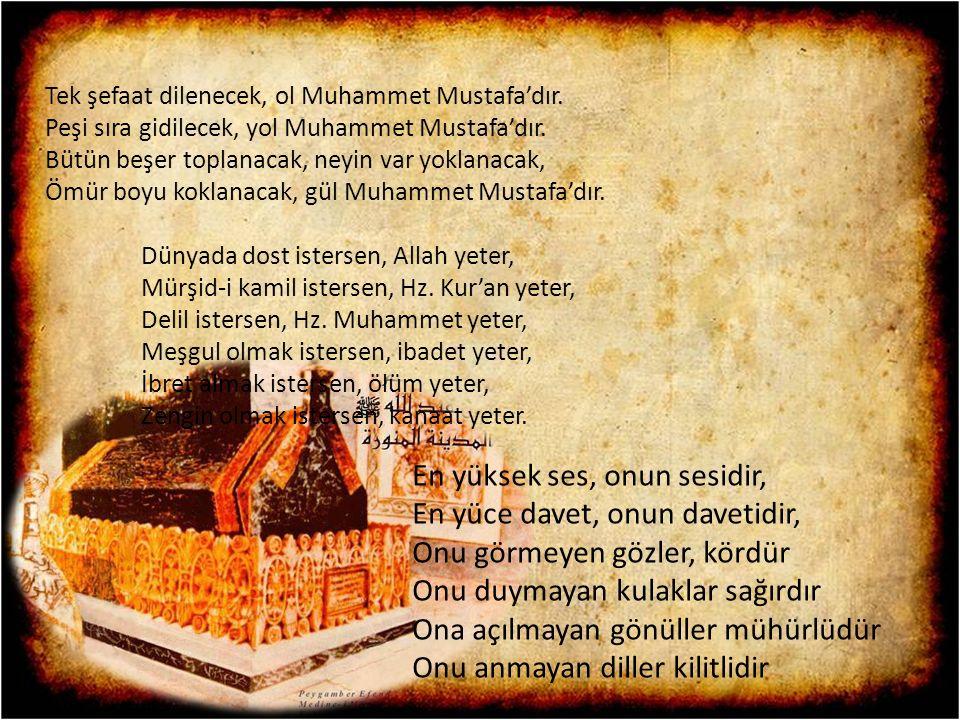 Tek şefaat dilenecek, ol Muhammet Mustafa'dır. Peşi sıra gidilecek, yol Muhammet Mustafa'dır. Bütün beşer toplanacak, neyin var yoklanacak, Ömür boyu