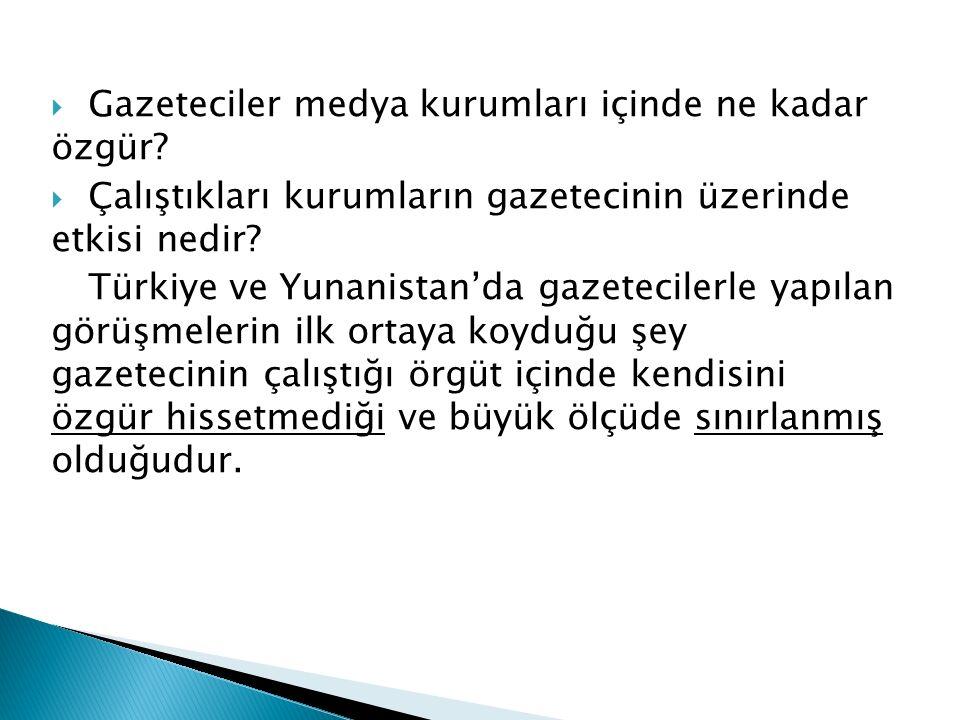 GGazeteciler medya kurumları içinde ne kadar özgür? ÇÇalıştıkları kurumların gazetecinin üzerinde etkisi nedir? Türkiye ve Yunanistan'da gazetecil