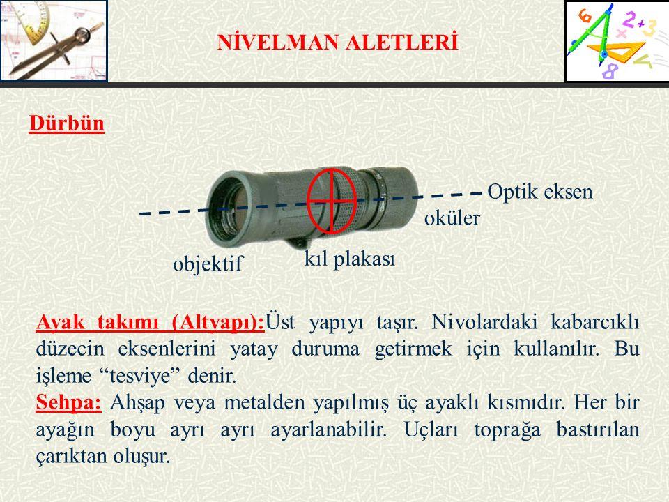 NİVELMAN ALETLERİ Ayak takımı (Altyapı):Üst yapıyı taşır. Nivolardaki kabarcıklı düzecin eksenlerini yatay duruma getirmek için kullanılır. Bu işleme