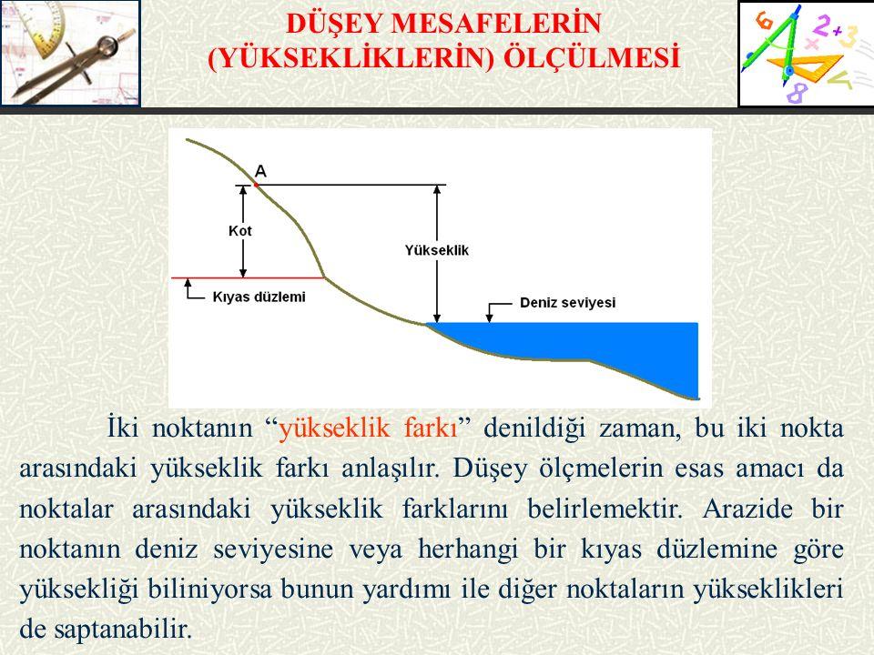 """İki noktanın """"yükseklik farkı"""" denildiği zaman, bu iki nokta arasındaki yükseklik farkı anlaşılır. Düşey ölçmelerin esas amacı da noktalar arasındaki"""