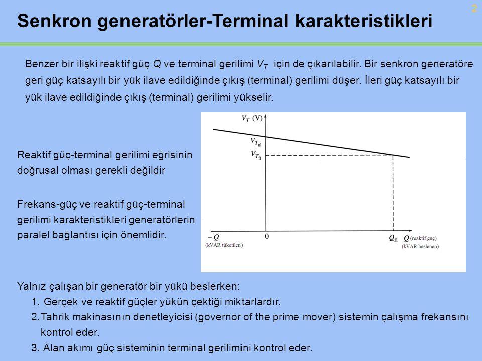 2 Benzer bir ilişki reaktif güç Q ve terminal gerilimi V T için de çıkarılabilir. Bir senkron generatöre geri güç katsayılı bir yük ilave edildiğinde