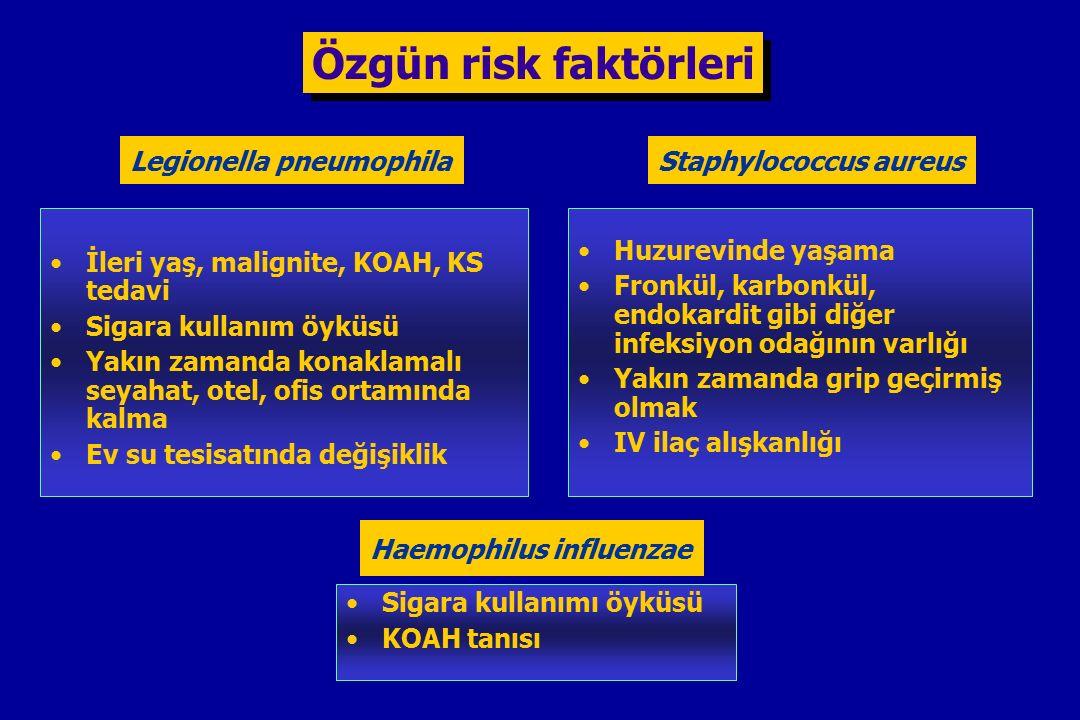 Özgün risk faktörleri Staphylococcus aureus Huzurevinde yaşama Fronkül, karbonkül, endokardit gibi diğer infeksiyon odağının varlığı Yakın zamanda grip geçirmiş olmak IV ilaç alışkanlığı Legionella pneumophila İleri yaş, malignite, KOAH, KS tedavi Sigara kullanım öyküsü Yakın zamanda konaklamalı seyahat, otel, ofis ortamında kalma Ev su tesisatında değişiklik Haemophilus influenzae Sigara kullanımı öyküsü KOAH tanısı