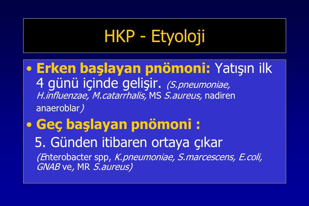 HKP - Etyoloji Erken başlayan pnömoni: Yatışın ilk 4 günü içinde gelişir.