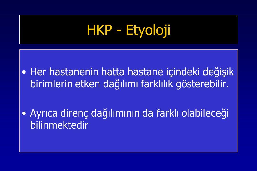 HKP - Etyoloji Her hastanenin hatta hastane içindeki değişik birimlerin etken dağılımı farklılık gösterebilir.
