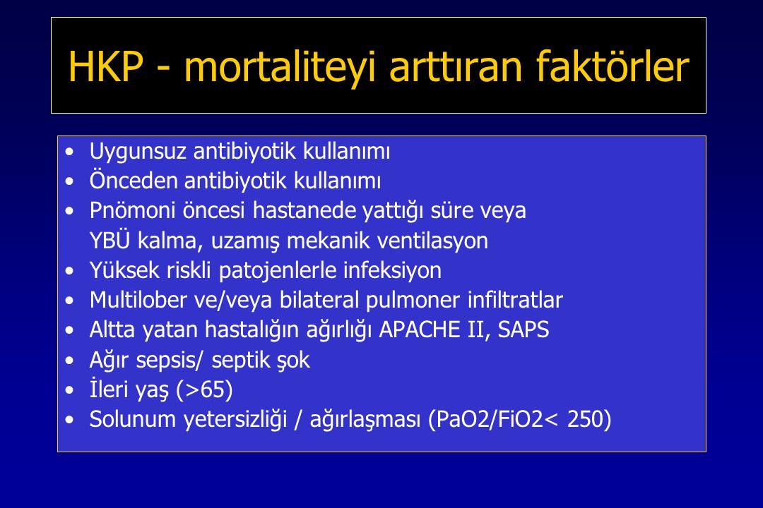 HKP - mortaliteyi arttıran faktörler Uygunsuz antibiyotik kullanımı Önceden antibiyotik kullanımı Pnömoni öncesi hastanede yattığı süre veya YBÜ kalma, uzamış mekanik ventilasyon Yüksek riskli patojenlerle infeksiyon Multilober ve/veya bilateral pulmoner infiltratlar Altta yatan hastalığın ağırlığı APACHE II, SAPS Ağır sepsis/ septik şok İleri yaş (>65) Solunum yetersizliği / ağırlaşması (PaO2/FiO2< 250)