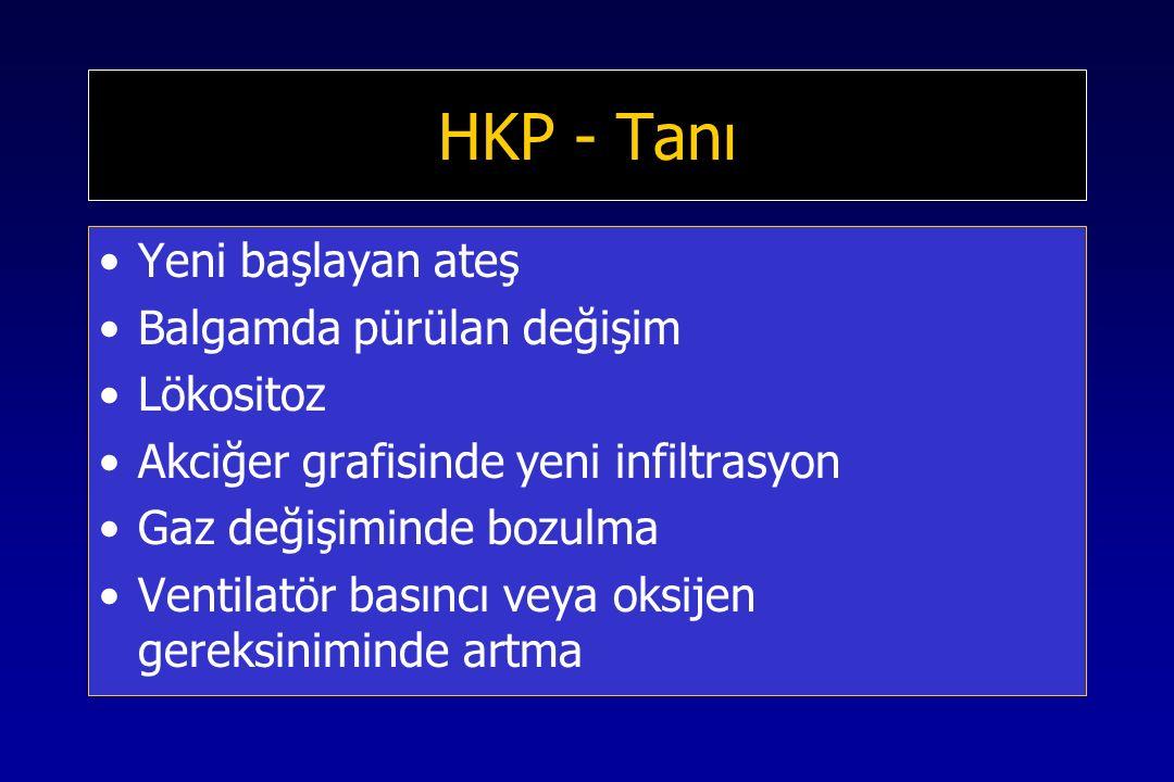 HKP - Tanı Yeni başlayan ateş Balgamda pürülan değişim Lökositoz Akciğer grafisinde yeni infiltrasyon Gaz değişiminde bozulma Ventilatör basıncı veya oksijen gereksiniminde artma