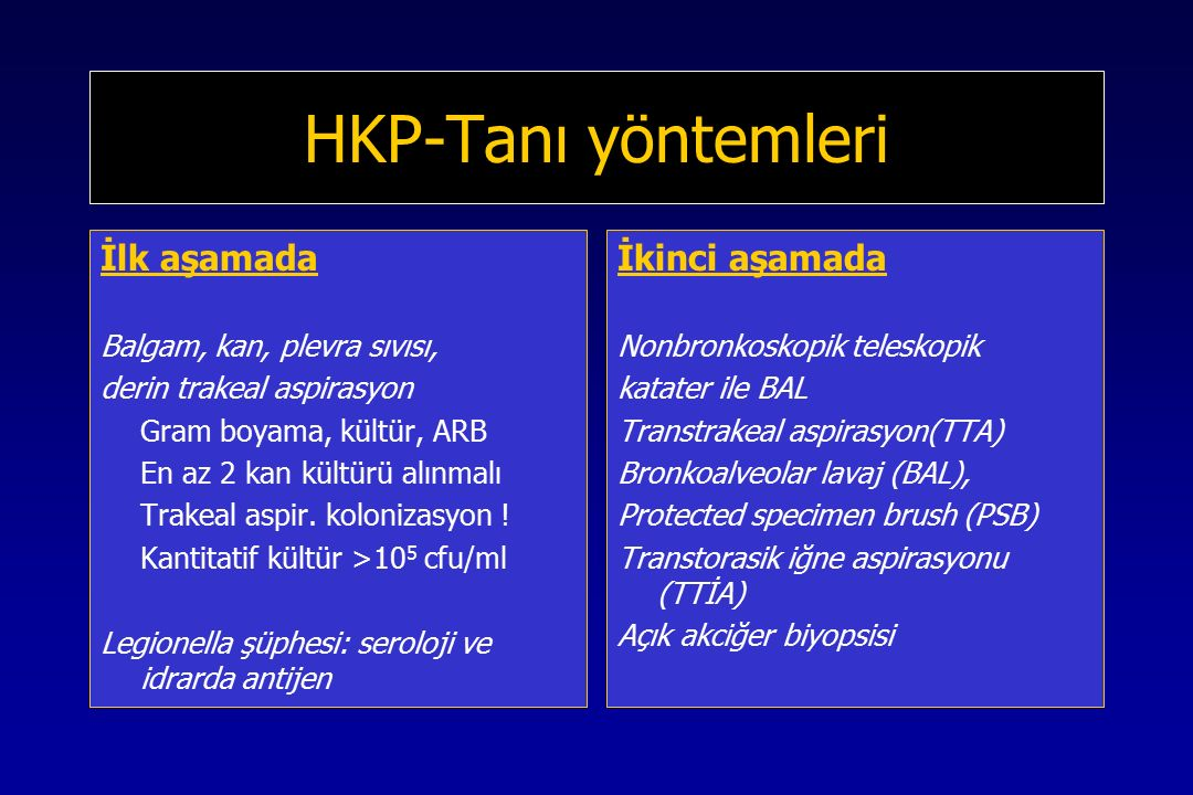 HKP-Tanı yöntemleri İlk aşamada Balgam, kan, plevra sıvısı, derin trakeal aspirasyon Gram boyama, kültür, ARB En az 2 kan kültürü alınmalı Trakeal aspir.