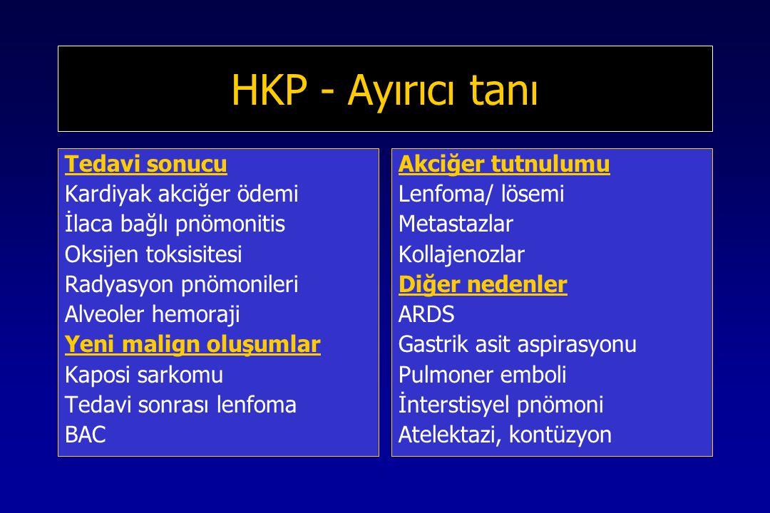 HKP - Ayırıcı tanı Tedavi sonucu Kardiyak akciğer ödemi İlaca bağlı pnömonitis Oksijen toksisitesi Radyasyon pnömonileri Alveoler hemoraji Yeni malign oluşumlar Kaposi sarkomu Tedavi sonrası lenfoma BAC Akciğer tutnulumu Lenfoma/ lösemi Metastazlar Kollajenozlar Diğer nedenler ARDS Gastrik asit aspirasyonu Pulmoner emboli İnterstisyel pnömoni Atelektazi, kontüzyon