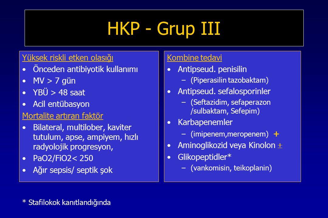 HKP - Grup III Yüksek riskli etken olasığı Önceden antibiyotik kullanımı MV > 7 gün YBÜ > 48 saat Acil entübasyon Mortalite artıran faktör Bilateral, multilober, kaviter tutulum, apse, ampiyem, hızlı radyolojik progresyon, PaO2/FiO2< 250 Ağır sepsis/ septik şok Kombine tedavi Antipseud.
