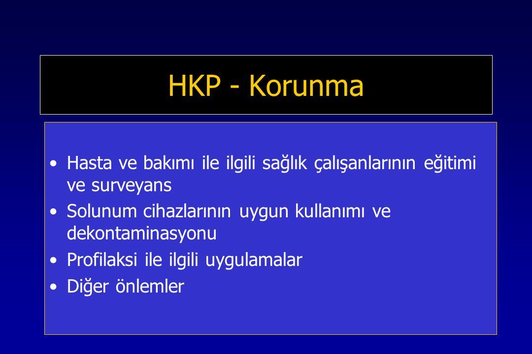 HKP - Korunma Hasta ve bakımı ile ilgili sağlık çalışanlarının eğitimi ve surveyans Solunum cihazlarının uygun kullanımı ve dekontaminasyonu Profilaksi ile ilgili uygulamalar Diğer önlemler
