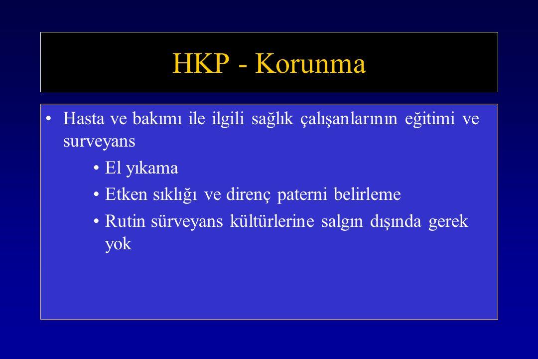 HKP - Korunma Hasta ve bakımı ile ilgili sağlık çalışanlarının eğitimi ve surveyans El yıkama Etken sıklığı ve direnç paterni belirleme Rutin sürveyans kültürlerine salgın dışında gerek yok