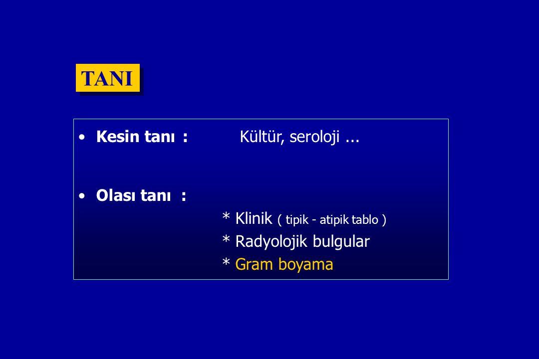 TANI Kesin tanı : Kültür, seroloji...