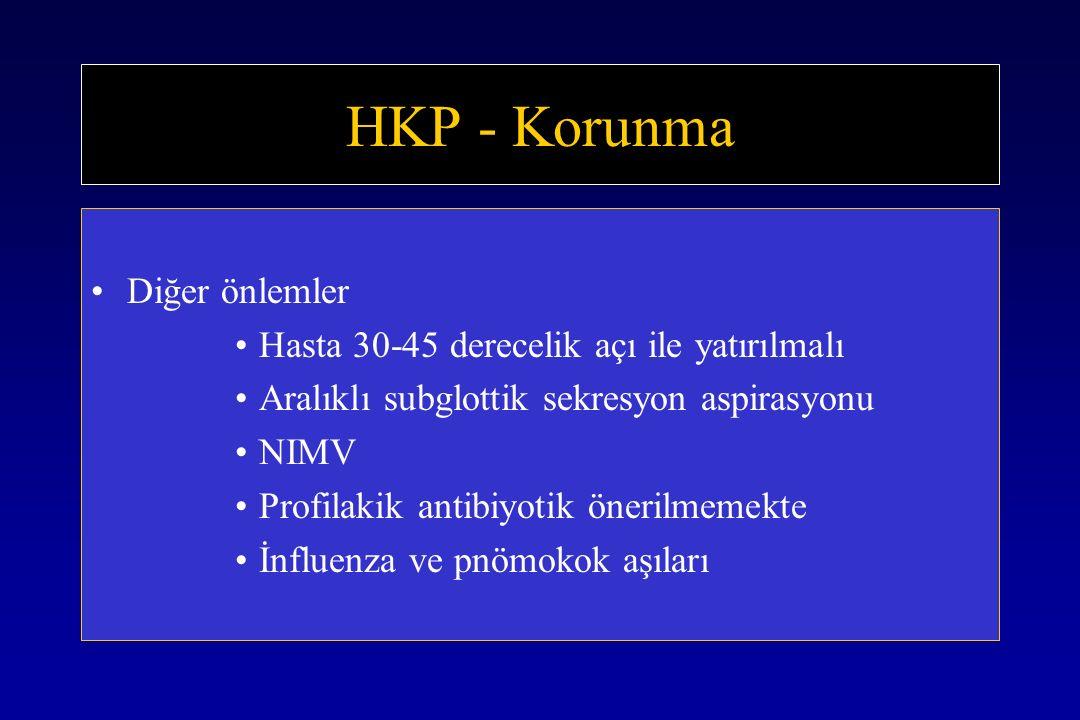 HKP - Korunma Diğer önlemler Hasta 30-45 derecelik açı ile yatırılmalı Aralıklı subglottik sekresyon aspirasyonu NIMV Profilakik antibiyotik önerilmemekte İnfluenza ve pnömokok aşıları
