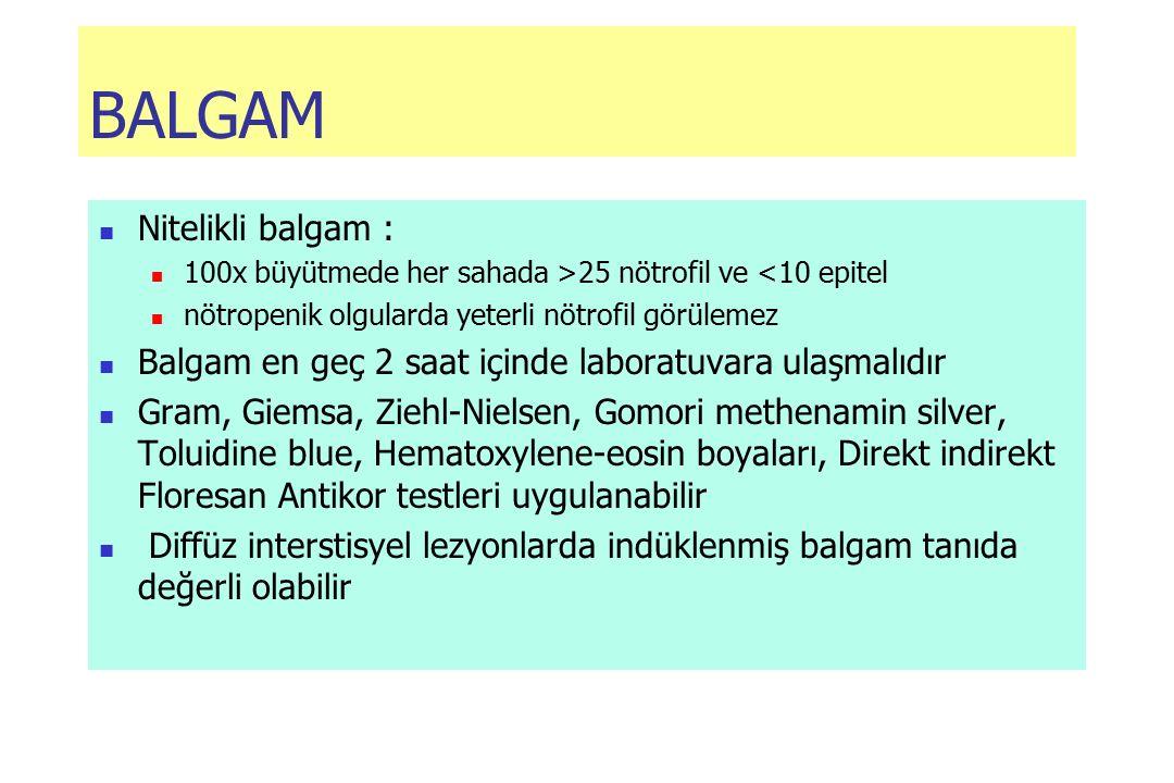BALGAM Nitelikli balgam : 100x büyütmede her sahada >25 nötrofil ve <10 epitel nötropenik olgularda yeterli nötrofil görülemez Balgam en geç 2 saat içinde laboratuvara ulaşmalıdır Gram, Giemsa, Ziehl-Nielsen, Gomori methenamin silver, Toluidine blue, Hematoxylene-eosin boyaları, Direkt indirekt Floresan Antikor testleri uygulanabilir Diffüz interstisyel lezyonlarda indüklenmiş balgam tanıda değerli olabilir