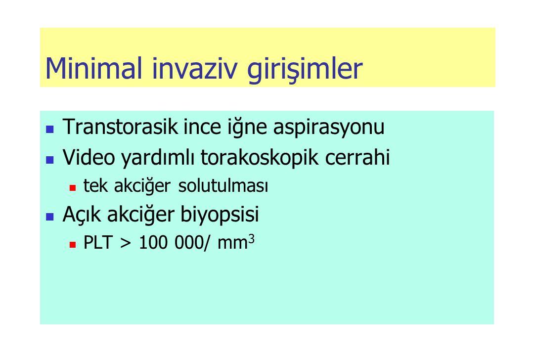 Minimal invaziv girişimler Transtorasik ince iğne aspirasyonu Video yardımlı torakoskopik cerrahi tek akciğer solutulması Açık akciğer biyopsisi PLT > 100 000/ mm 3