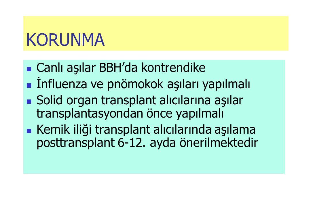 KORUNMA Canlı aşılar BBH'da kontrendike İnfluenza ve pnömokok aşıları yapılmalı Solid organ transplant alıcılarına aşılar transplantasyondan önce yapılmalı Kemik iliği transplant alıcılarında aşılama posttransplant 6-12.