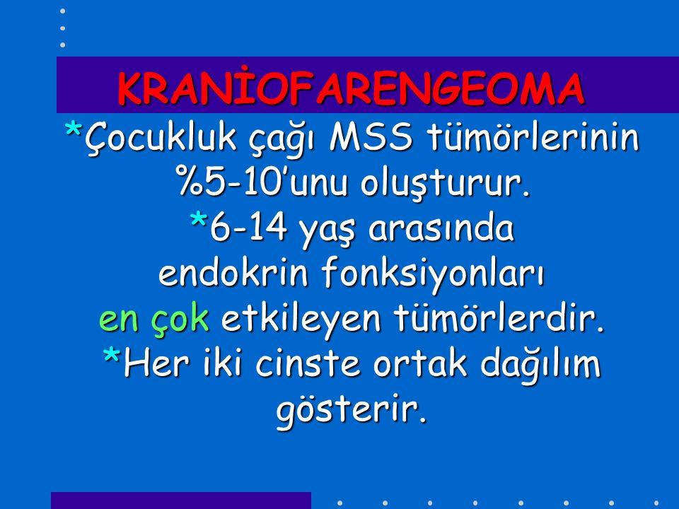 KRANİOFARENGEOMA *Çocukluk çağı MSS tümörlerinin %5-10'unu oluşturur. *6-14 yaş arasında endokrin fonksiyonları en çok etkileyen tümörlerdir. *Her iki