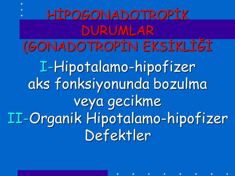 HİPOTALAMO-HİPOFİZER AKS FONKSİYONUNDA BOZULMA VEYA GECİKME *KONSTÜTİSYONEL PUBERTE GECİKMESİ *Kronik hastalıklar (kardiyak,GİS,hematolojik,onkolojik, pulmoner,renal vb.) *İlaç alışkanlığı *Aşırı egzersiz *Morbid obesite *Malnutrisyon