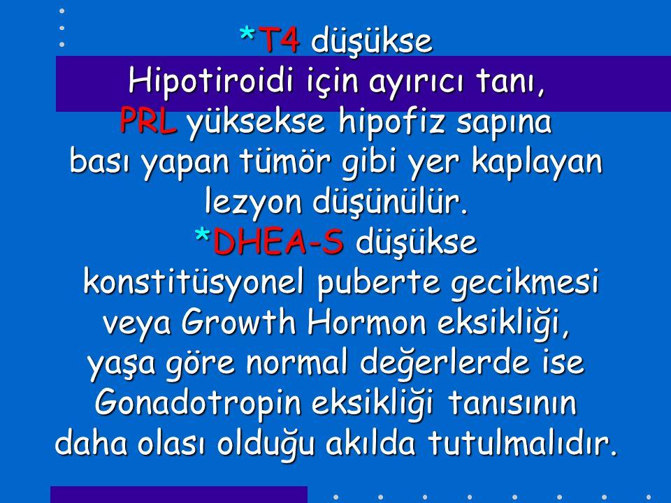 *T4 düşükse Hipotiroidi için ayırıcı tanı, PRL yüksekse hipofiz sapına bası yapan tümör gibi yer kaplayan lezyon düşünülür. *DHEA-S düşükse konstitüsy