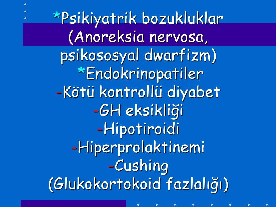 *Psikiyatrik bozukluklar (Anoreksia nervosa, psikososyal dwarfizm) *Endokrinopatiler -Kötü kontrollü diyabet -GH eksikliği -Hipotiroidi -Hiperprolakti