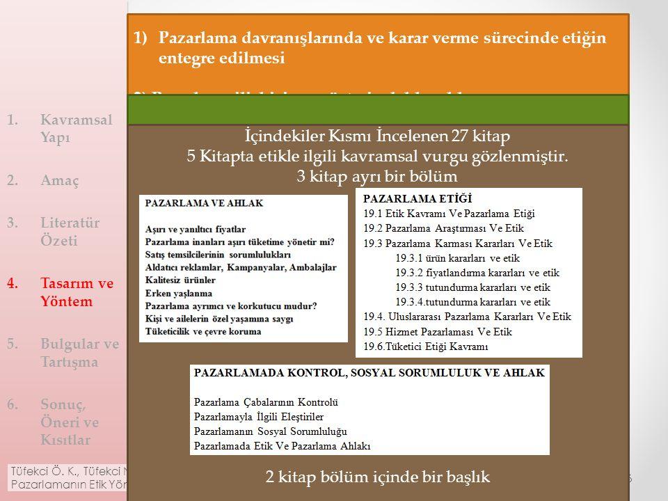 4. Tasarım ve Yöntem Analiz kriterlerinin tespiti o Perret ve Holmlund (2013) Temel pazarlama kitaplarının tespiti İçindekiler bölümlerinin incelenmes