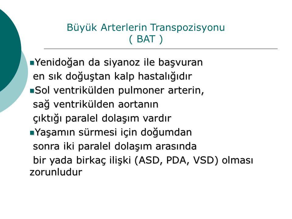 Büyük Arterlerin Transpozisyonu ( BAT ) Yenidoğan da siyanoz ile başvuran Yenidoğan da siyanoz ile başvuran en sık doğuştan kalp hastalığıdır en sık d