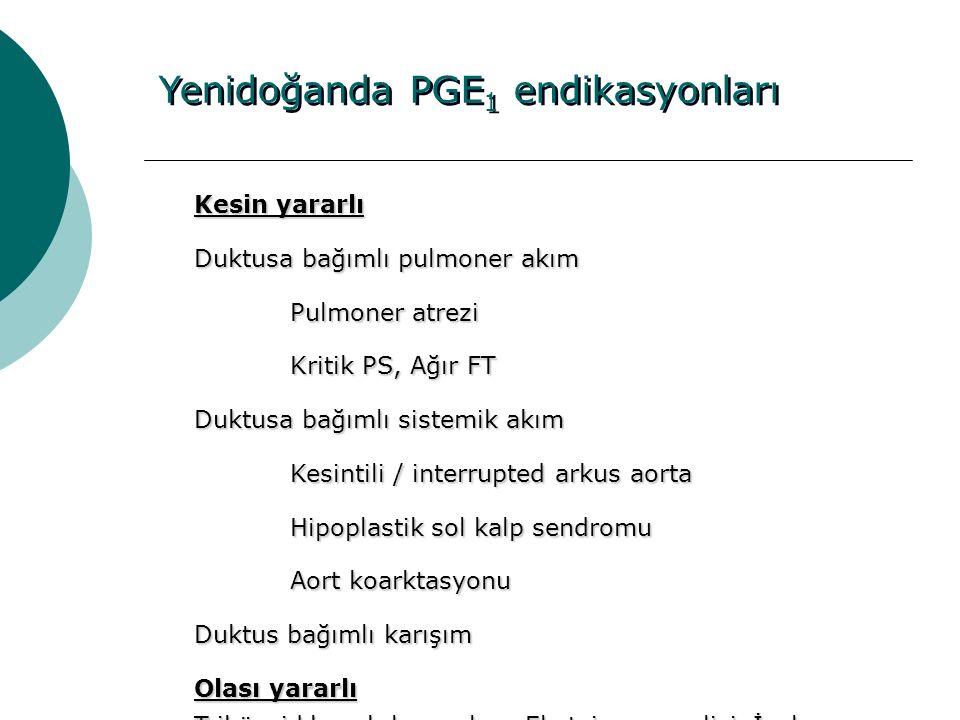 Yenidoğanda PGE 1 endikasyonları Kesin yararlı Duktusa bağımlı pulmoner akım Pulmoner atrezi Kritik PS, Ağır FT Duktusa bağımlı sistemik akım Kesintil