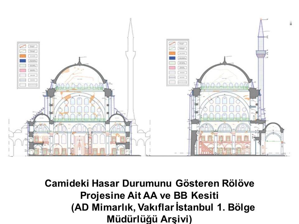 Camideki Hasar Durumunu Gösteren Rölöve Projesine Ait AA ve BB Kesiti (AD Mimarlık, Vakıflar İstanbul 1. Bölge Müdürlüğü Arşivi)