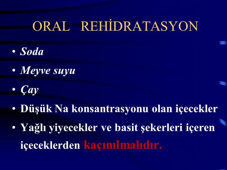 SIVI ELEKTROLİT TEDAVİSİ Oral rehidratasyon Devam eden kayıplar ilk 4-6 saatte Oral idame sıvısı