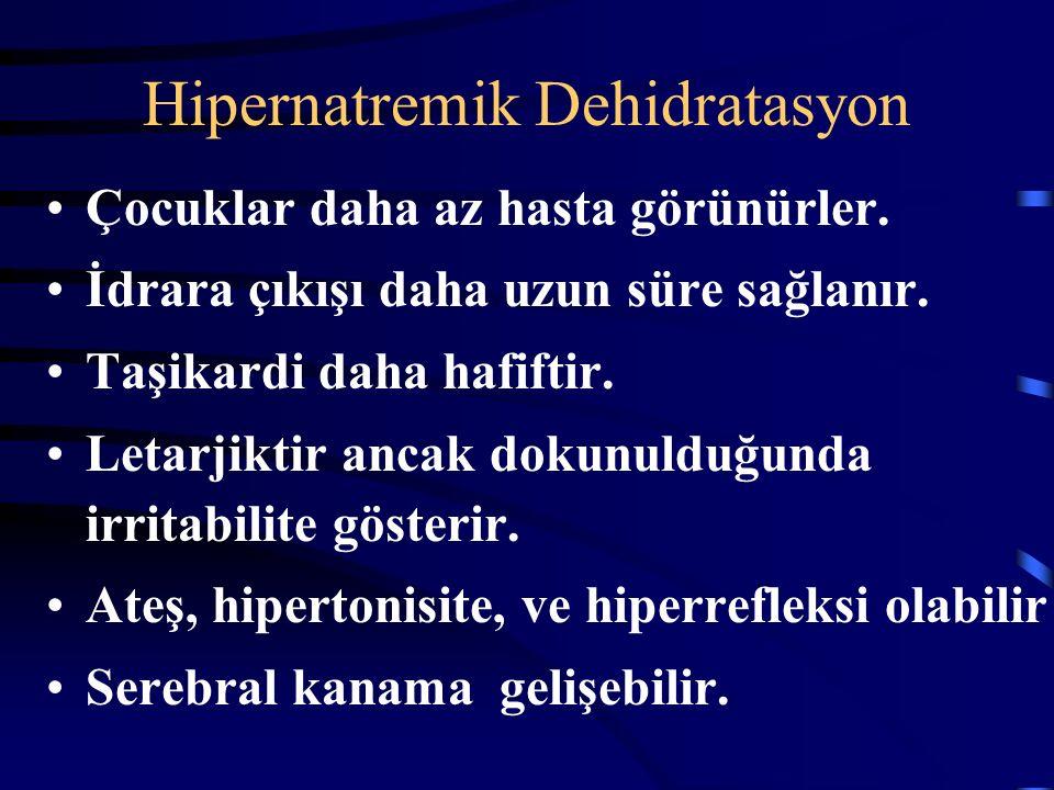Hipernatremik Dehidratasyon Dehidratasyonun en tehlikeli şeklidir. Hemoraji ve trombozu da içeren ciddi nörolojik komplikasyonlara neden olabilir. Neo
