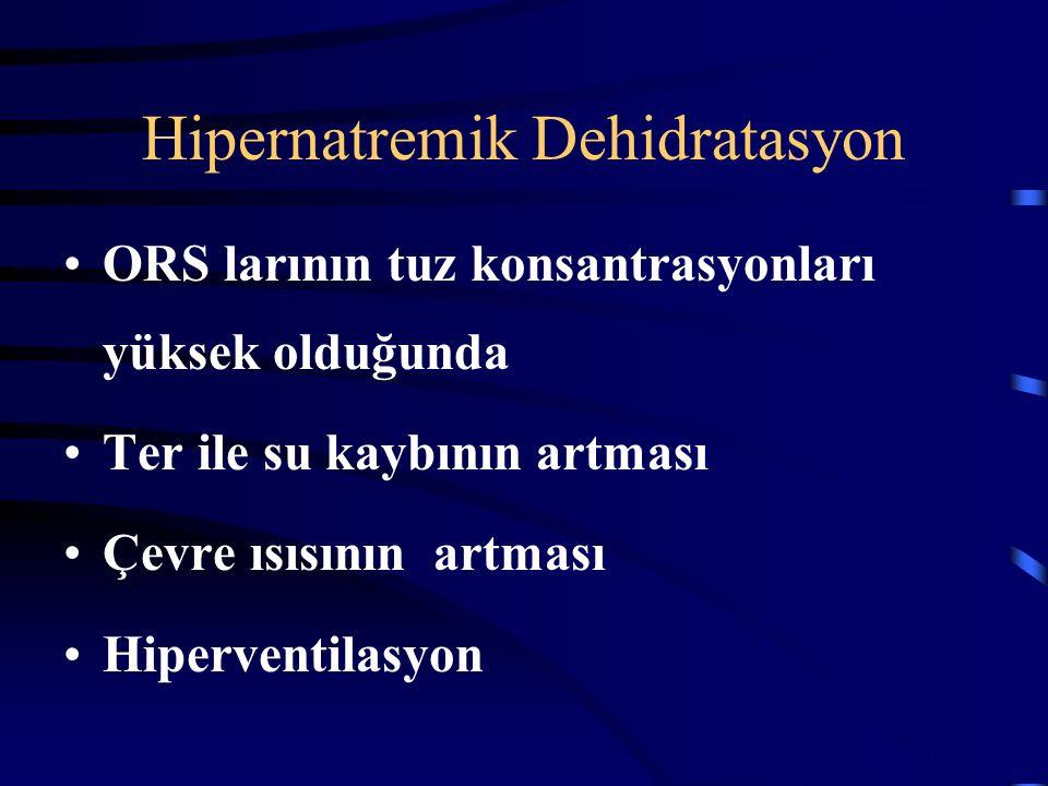 Hipernatremik Dehidratasyon Çocuklar daha az hasta görünürler. İdrara çıkışı daha uzun süre sağlanır. Taşikardi daha hafiftir. Letarjiktir ancak dokun