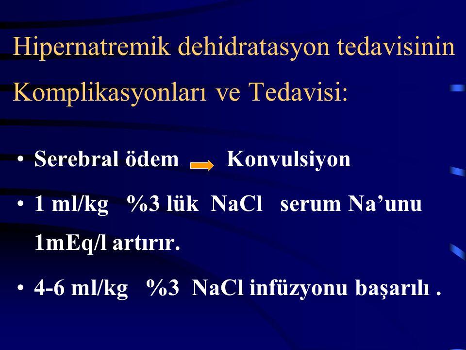 Klinik duruma ve serum Na konsantrasyonuna göre sıvıyı ayarla:  Volüm deplesyonu: 20 ml/kg NS  Na çok hızlı düşüyor: - sıvının Na konsantrasyonunu a
