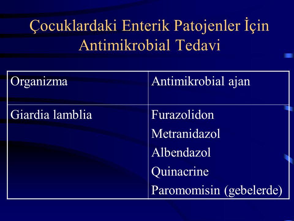 Çocuklardaki bakteriyel enteropatojenler için antimikrobiyal tedavi OrganizmaAntimikrobial ajan Antimikrobial tedavi endikasyonu Vibrio choleraDoksisi