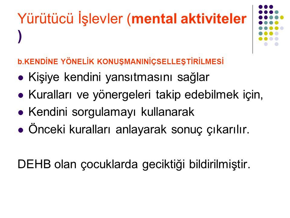 Yürütücü İşlevler (mental aktiviteler ) b.KENDİNE YÖNELİK KONUŞMANINİÇSELLEŞTİRİLMESİ Kişiye kendini yansıtmasını sağlar Kuralları ve yönergeleri taki