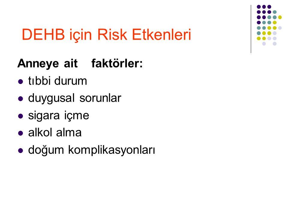 DEHB için Risk Etkenleri Anneye ait faktörler: tıbbi durum duygusal sorunlar sigara içme alkol alma doğum komplikasyonları