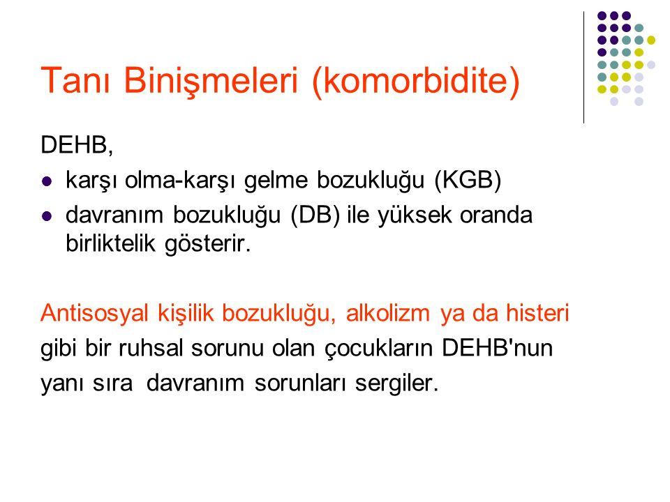 Tanı Binişmeleri (komorbidite) DEHB, karşı olma-karşı gelme bozukluğu (KGB) davranım bozukluğu (DB) ile yüksek oranda birliktelik gösterir. Antisosyal