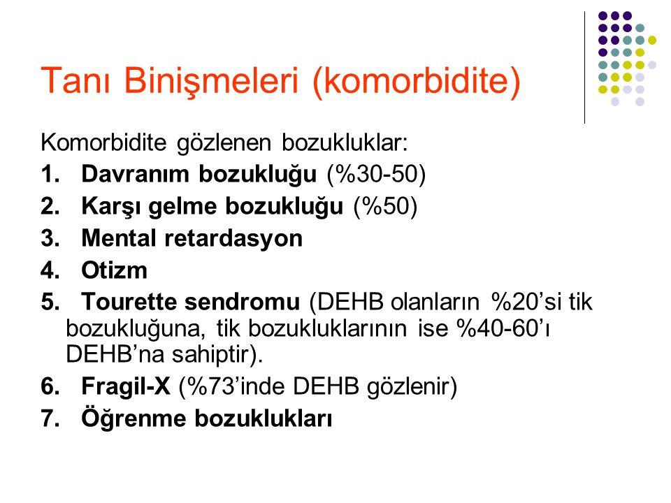Tanı Binişmeleri (komorbidite) Komorbidite gözlenen bozukluklar: 1. Davranım bozukluğu (%30-50) 2. Karşı gelme bozukluğu (%50) 3. Mental retardasyon 4