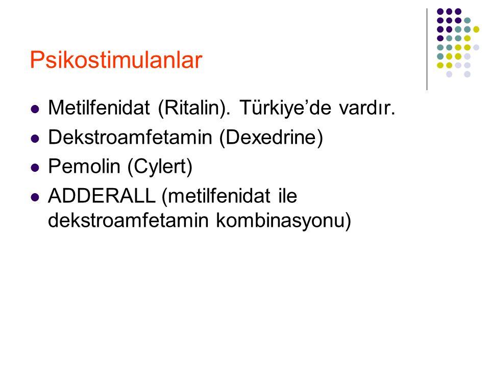 Psikostimulanlar Metilfenidat (Ritalin). Türkiye'de vardır. Dekstroamfetamin (Dexedrine) Pemolin (Cylert) ADDERALL (metilfenidat ile dekstroamfetamin
