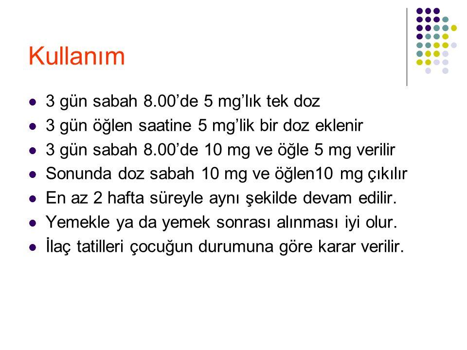 Kullanım 3 gün sabah 8.00'de 5 mg'lık tek doz 3 gün öğlen saatine 5 mg'lik bir doz eklenir 3 gün sabah 8.00'de 10 mg ve öğle 5 mg verilir Sonunda doz
