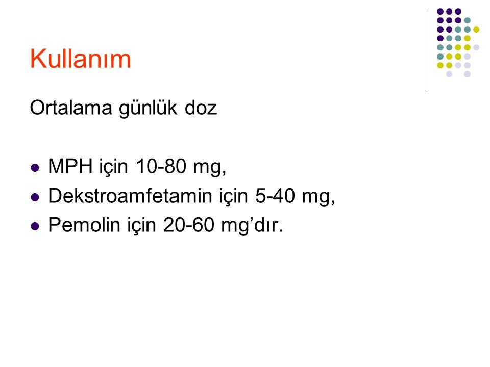 Kullanım Ortalama günlük doz MPH için 10-80 mg, Dekstroamfetamin için 5-40 mg, Pemolin için 20-60 mg'dır.