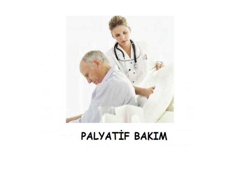 Yaşamı tehdit eden hastalıklardan kaynaklanan problemler ile karşılaşan hastaların ve hasta yakınlarının yaşam kalitesinin, başta ağrı olmak üzere tüm fiziksel, psikososyal ve ruhsal problemlerin erken tespit edilerek ve etkili değerlendirmeler yapılarak önlenmesi ve giderilmesi suretiyle arttırılmasına dayanan bir yaklaşımdır. Palyatif Bakım (DSÖ Tanımı )