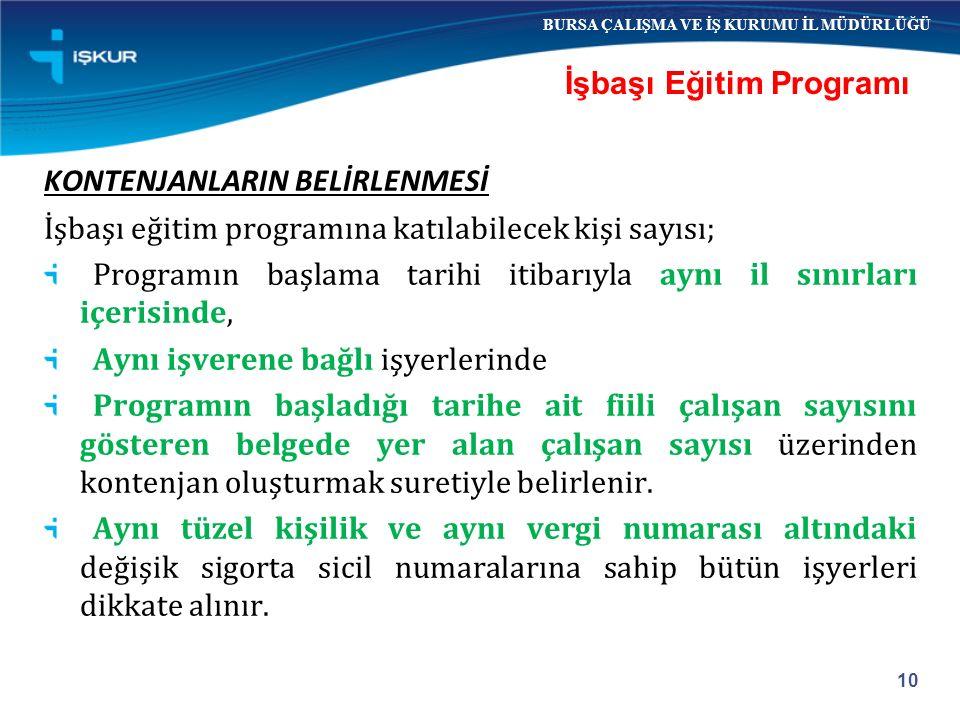 KONTENJANLARIN BELİRLENMESİ İşbaşı eğitim programına katılabilecek kişi sayısı; Programın başlama tarihi itibarıyla aynı il sınırları içerisinde, Aynı