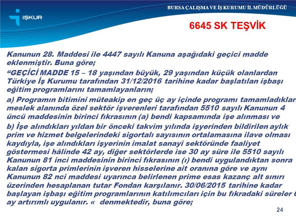 """24 6645 SK TEŞVİK BURSA ÇALIŞMA VE İŞ KURUMU İL MÜDÜRLÜĞÜ Kanunun 28. Maddesi ile 4447 sayılı Kanuna aşağıdaki geçici madde eklenmiştir. Buna göre; """"G"""