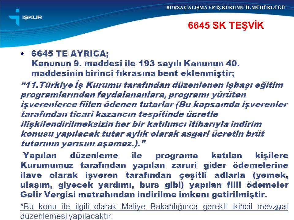 27 6645 SK TEŞVİK BURSA ÇALIŞMA VE İŞ KURUMU İL MÜDÜRLÜĞÜ 6645 TE AYRICA; Kanunun 9. maddesi ile 193 sayılı Kanunun 40. maddesinin birinci fıkrasına b
