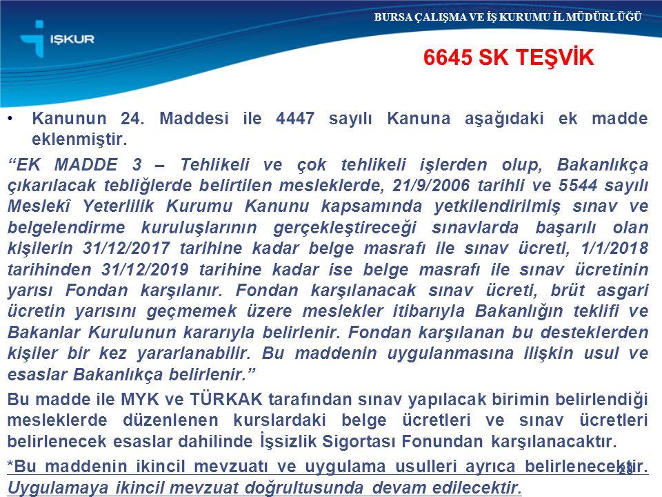 """28 6645 SK TEŞVİK BURSA ÇALIŞMA VE İŞ KURUMU İL MÜDÜRLÜĞÜ Kanunun 24. Maddesi ile 4447 sayılı Kanuna aşağıdaki ek madde eklenmiştir. """"EK MADDE 3 – Teh"""