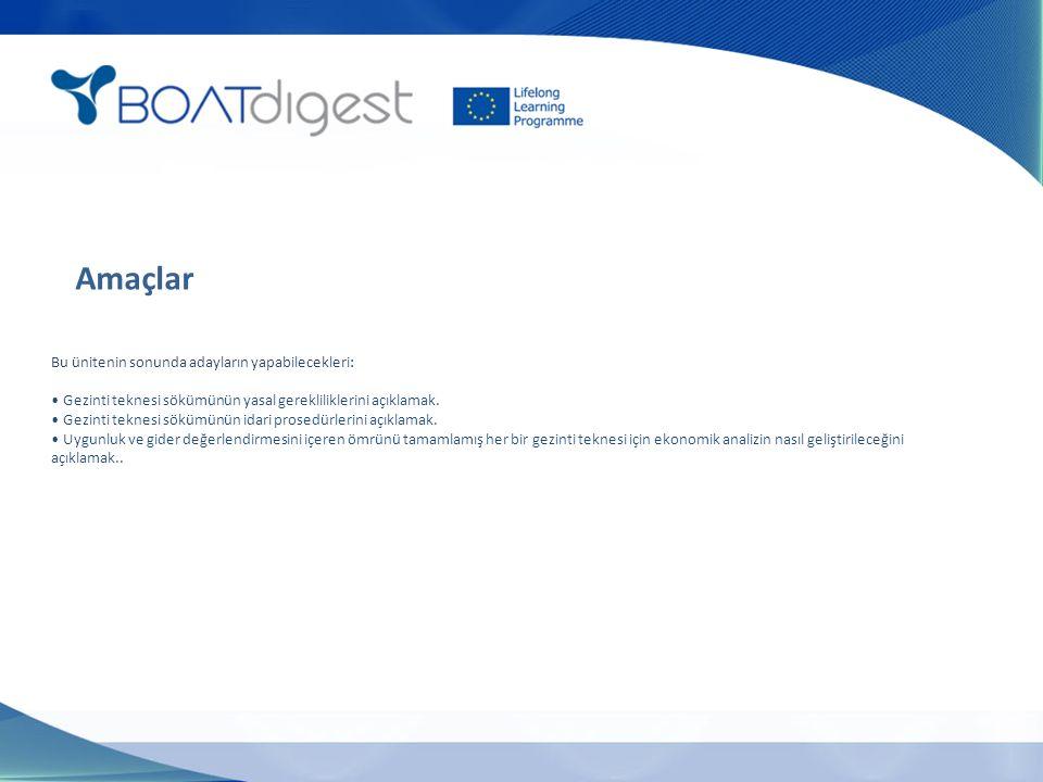 Amaçlar Bu ünitenin sonunda adayların yapabilecekleri: Gezinti teknesi sökümünün yasal gerekliliklerini açıklamak.