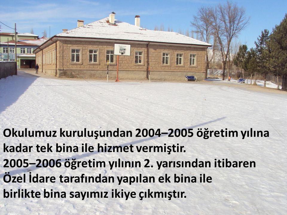 Okulumuz kuruluşundan 2004–2005 öğretim yılına kadar tek bina ile hizmet vermiştir.