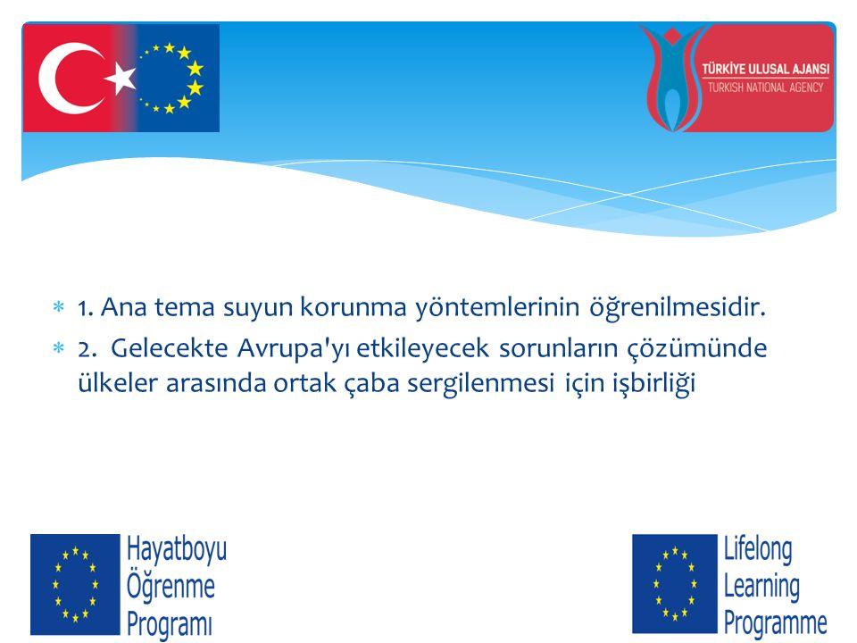  1. Ana tema suyun korunma yöntemlerinin öğrenilmesidir.  2. Gelecekte Avrupa'yı etkileyecek sorunların çözümünde ülkeler arasında ortak çaba sergil