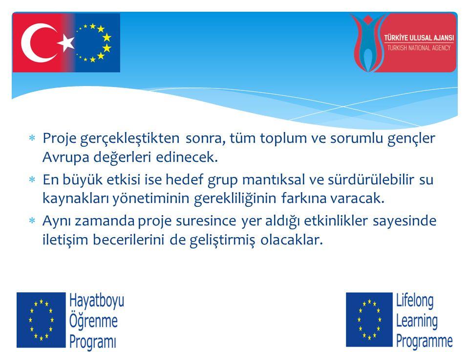  Proje gerçekleştikten sonra, tüm toplum ve sorumlu gençler Avrupa değerleri edinecek.  En büyük etkisi ise hedef grup mantıksal ve sürdürülebilir s